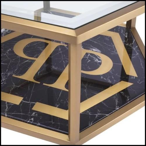 Table basse en acier inoxydable finition laiton brossé avec verre clair et verre miroir 24-Superia Brass