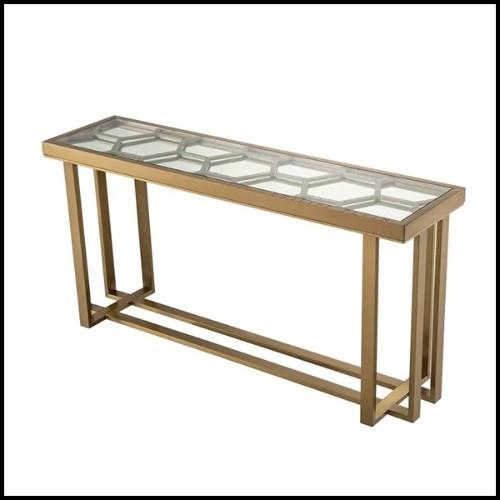 Table basse en acier inoxydable et verre clair 24-Madagascar