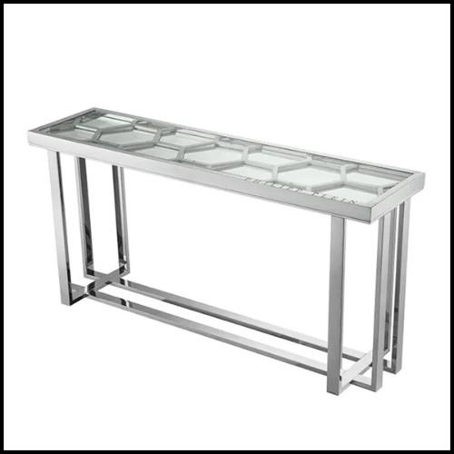 Table d'appoint en acier inoxydable et verre clair 24-Madagascar