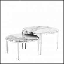 Table basse finition nickel avec plateau en marbre 24-Fredo Set of 2