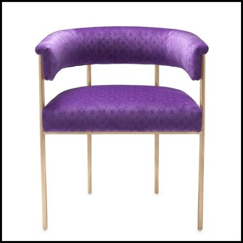 Table avec pieds en chrome et plateau en marbre 162-Orcante