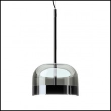 Suspension with shade in black glass 40-Sober Shade