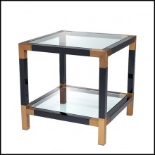Table d'appoint en acier inoxydable finition laiton brossé 24-Royalton Black
