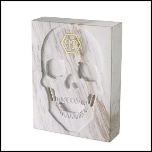 Table d'appoint en acier inoxydable avec plateau en marbre résine 24-Parme White