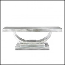Console in solid wood and antique mirrored glass 182-Antique Moon