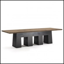 Dining Table in solid walnut wood top and base in forged iron 154-Basic