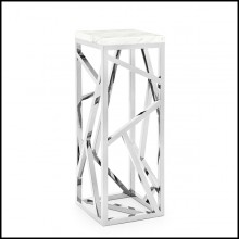 Sellette in metal in chrome finish with top in white marble 162-Raytona Chrome