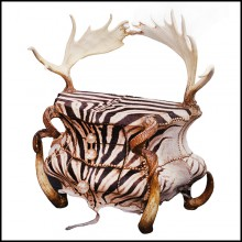 Chest in solid beech wood covered with real zebra skin PC-Zebra and Elk