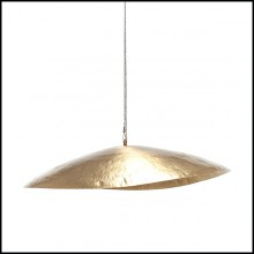 Suspension in matte solid brass 30-Leaf Gold Medium