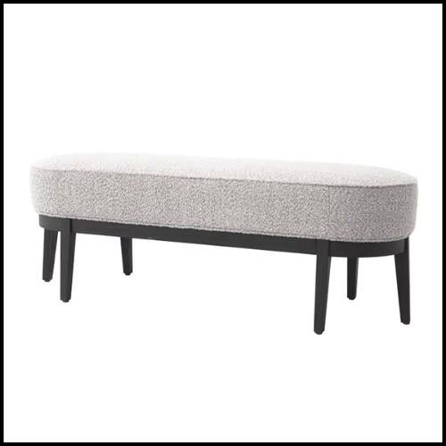 Tabouret en bois avec assise et dossier avec tissu velours 24-Arcadia Dark