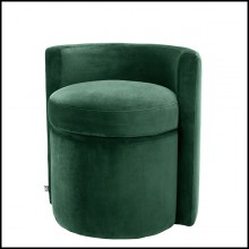Tabouret en bois avec assise et dossier avec tissu velours 24-Arcadia Green