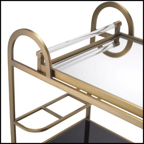 Tabouret en bois avec assise et dossier avec tissu velours 24-Arcadia Blue