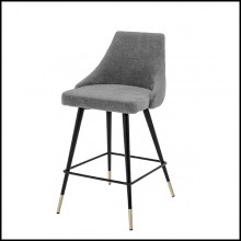 Bar stool in wood with legs in brass in black finish 24-Cedro Grey M