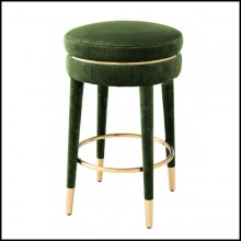 Bar stool in wood and seat in velvet fabric in green finish 24-Parisian Green M