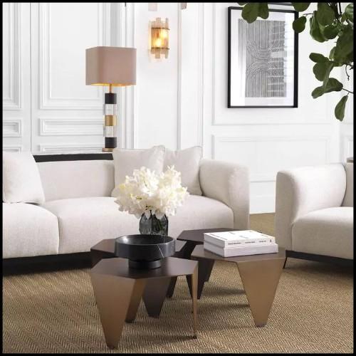 Table basse avec base en fibre de verre finition gold 114-Cesar Gold