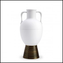 Vase in white porcelain and solid brass base 178-Incense