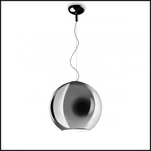 Suspension with globe in glass in chrome finish 40-Light Globe
