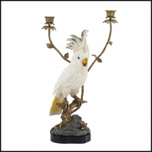 Candleholder in porcelain and details in solid bronze 162-White Parrot