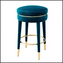 Bar stool in stainless steel with velvet fabric in blue color 24-Parisian Blue M