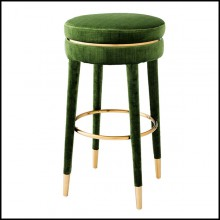 Bar stool in stainless steel with velvet fabric in green color 24-Parisian Green L