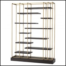 Bookshelves in stainless steel in brushed brass finish 24-Ward Brass