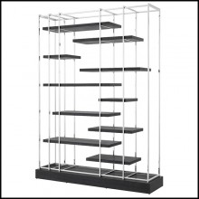 Bookshelves in stainless steel in nickel finish 24-Ward Nickel