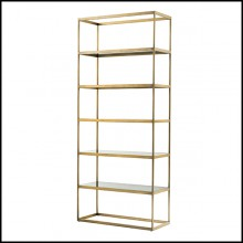 Bookshelves in stainless steel in brushed brass finish 24-Omega