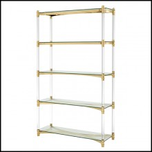 Bookshelves in stainless steel in gold finish 24-Trento Gold