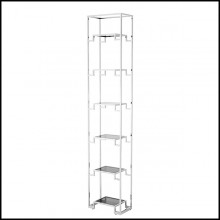 Bookshelves in polished stainless steel and smoke glass 24-Berndorff S Steel