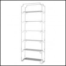 Bookshelves in polished stainless steel and smoke glass 24-Berndorff Steel