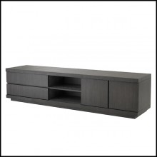 Meuble TV en acajou vernis finition charcoal oak 24-Crosby