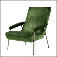 Armchair in wood with legs in brass in brushed finish and seat with velvet fabric 24-Gio Green