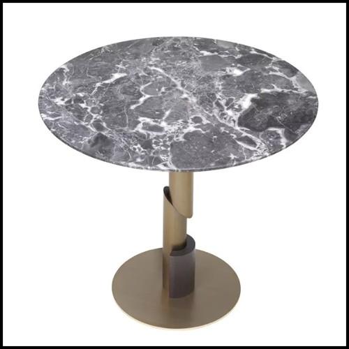 Fauteuil en bois avec pieds en laiton finition brossé et assise avec tissu velours 24-Gio Green