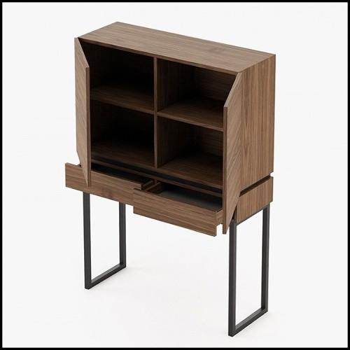 Colonne en acier inoxydable finition piano black et plateaux en verre clair 24-Royalton Black