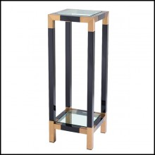 Column in stainless steel in piano black finish and tops in clear glass 24-Royalton Black