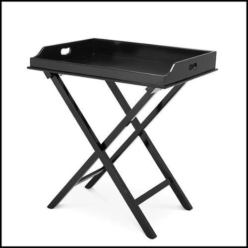 Console en acier inoxydable finition piano black et plateaux en verre clair 24-Royalton Black
