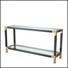 Console Table in stainless steel in piano black finish and tops in clear glass 24-Royalton Black