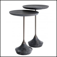 Table d'appoint en acier inoxydable finition bronze et base en marbre gris 24-Puglia Set of 2