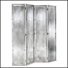 Screen in solid wood and beveled antique mirrored glass 182-Majesty