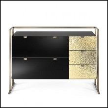Chest of drawers in metal in burnished and antiqued brass finish 182-Pietro