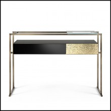 Console Table in metal in burnished and antiqued brass finish 182-Pietro