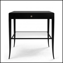 Nightstand in solid mahognay wood in black satinated finish 119-Sober