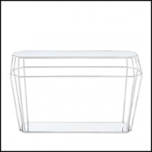 Console Table in metal in chrome finish 162-Talisma Glass