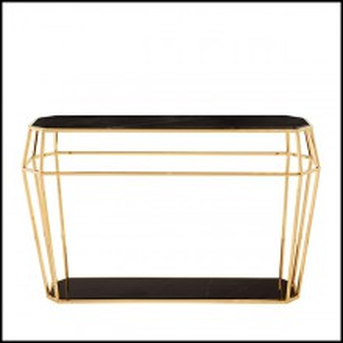 Console en métal finition gold 162-Talisma Marble
