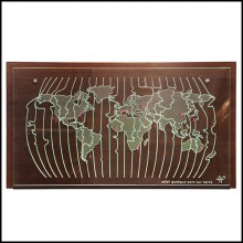 Horloge en bois naturel massif PC-World Map