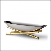 Cup in polished stainless steel and gold-plated 172-Bamboos Oval