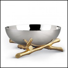 Cup in polished stainless steel et gold-plated 172-Bamboos Round