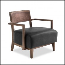 Armchair in solid walnut wood and leather in black finish 154-Gemini