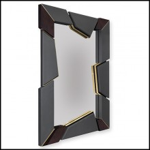 Miroir en racine de noyer massif et avec verre miroir 164-Lupus