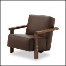 Armchair in solid walnut wood and in italian genuine leather 154-Opal